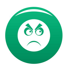 angry smile icon green vector image