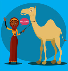 Arab woman waving and funny camel vector