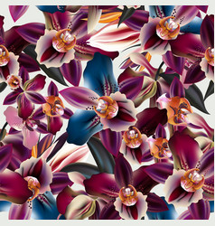 Beautiful tropical pattern with orchid vector