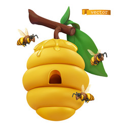 Beehive on tree branch and honey bees 3d cartoon vector
