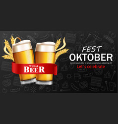 Beer glasses banner october fest realistic vector