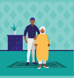 black grandmother with son characters vector image