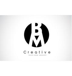 bm letter logo design inside a black circle vector image