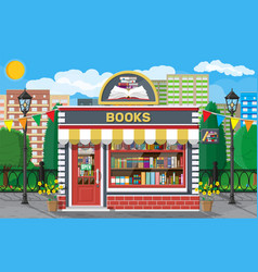 Bookstore shop exterior books shop brick building vector