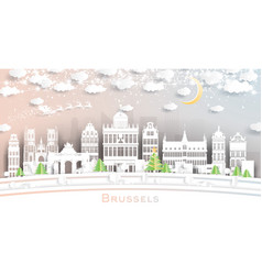 brussels belgium city skyline in paper cut style vector image