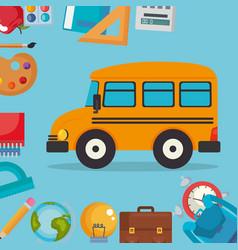 bus with school supplies vector image