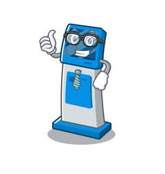 Businessman information digital kiosk with in vector