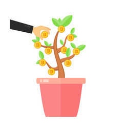 Businessman take a bitcoin coin from money tree vector