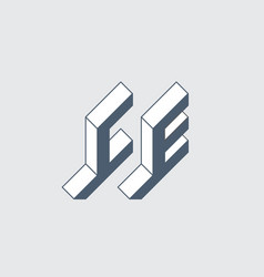 C and e - monogram or logotype isometric 3d font vector