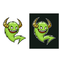 cartoon troll with horns green laughing monster vector image