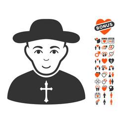 Christian priest icon with lovely bonus vector