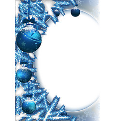 Christmas background with baubles and branches vector