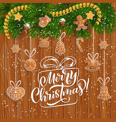 christmas galand with gingerbread star and snow vector image
