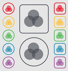 Color scheme icon sign symbol on the Round and vector