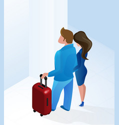 couple man and woman arriving hotel hall isometric vector image