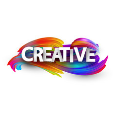 creative paper poster with colorful brush strokes vector image