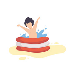cute boy playing in inflatable pool kid having vector image