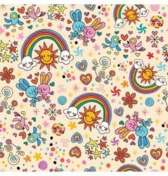 Cute bunnies birds rainbows seamless pattern vector