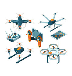 different isometric of drones and vector image