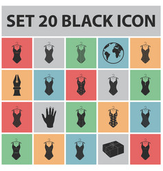 different types of swimsuits black icons in set vector image