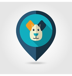 Dog flat pin map icon Animal head vector image