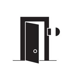 door bell black concept icon door bell vector image