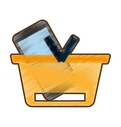 drawing basket buying online smartphone commerce vector image
