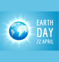 earth day banner with blue globe vector image