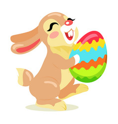 easter cheerful bunny holding painted egg flat vector image