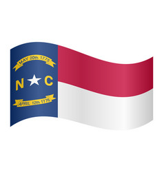 flag of north carolina waving on white background vector image