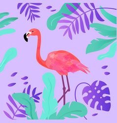 flamingo and tropical leaves in vivid colors vector image