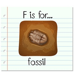 Flashcard alphabet F is for fossil vector