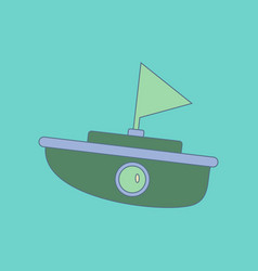 Flat icon on background kids toy boat vector