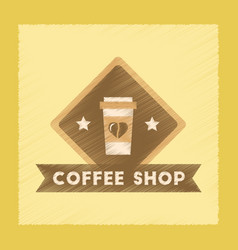 Flat shading style icon coffee shop logo vector