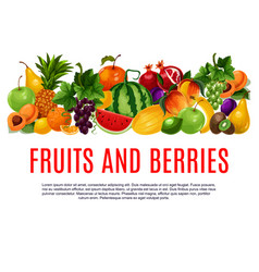 Fruit and berry banner with border of farm product vector