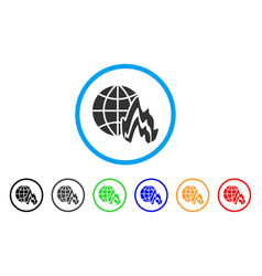 Global fire rounded icon vector