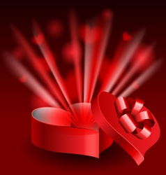 Glowing heart shaped box vector image