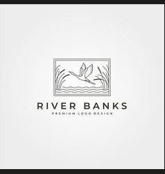 goose in river plant logo design line art flying vector image