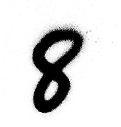 Graffiti sprayed number 8 eight in black on white vector