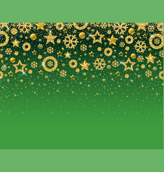 green christmas card with frame of golden vector image