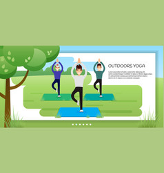 group of young men practicing yoga in the park vector image