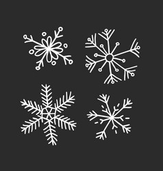 hand drawn set of vintage snowflakes white on vector image