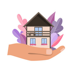 hand holding cosy home house in palm vector image