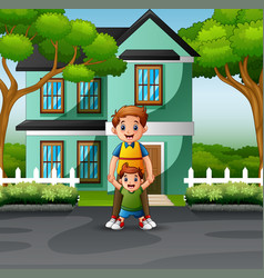 happy father and sons in front house vector image