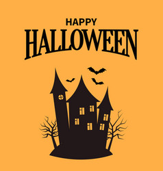 happy halloween poster with closeup creepy house vector image