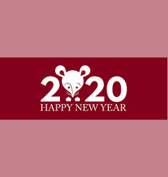 happy new 2020 year papercut rat character red vector image