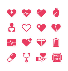 Heart diagnosis and cardiac treatment icons vector
