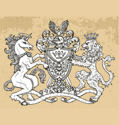Heraldic emblem with unicorn and lion beast vector