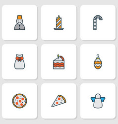 Holiday icons colored line set with christmas vector