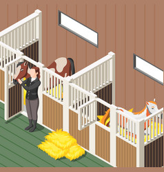 horse stable isometric background vector image